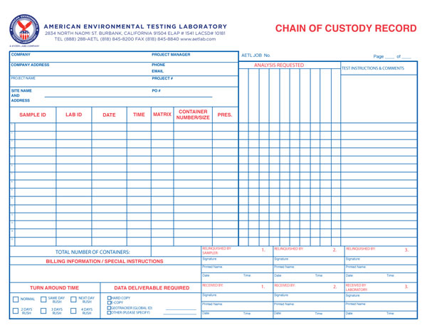 Chain of Custody Record